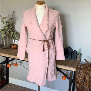 Tahari Dusty Rose Pinck Wrap Jacket Coat Med.